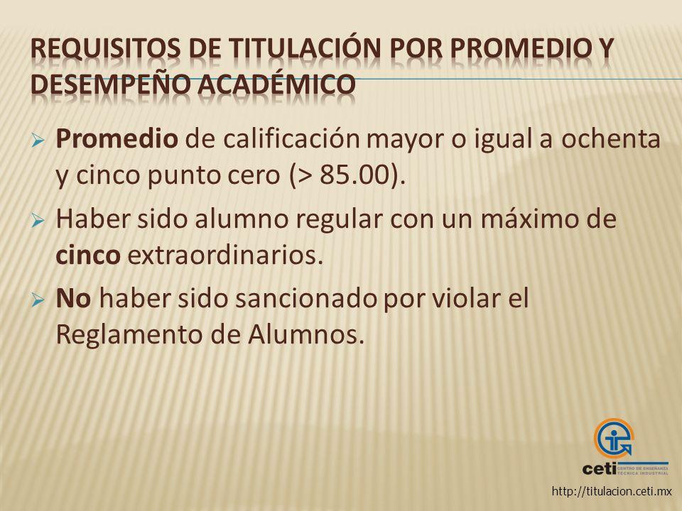 Requisitos de titulación por Promedio y Desempeño Académico