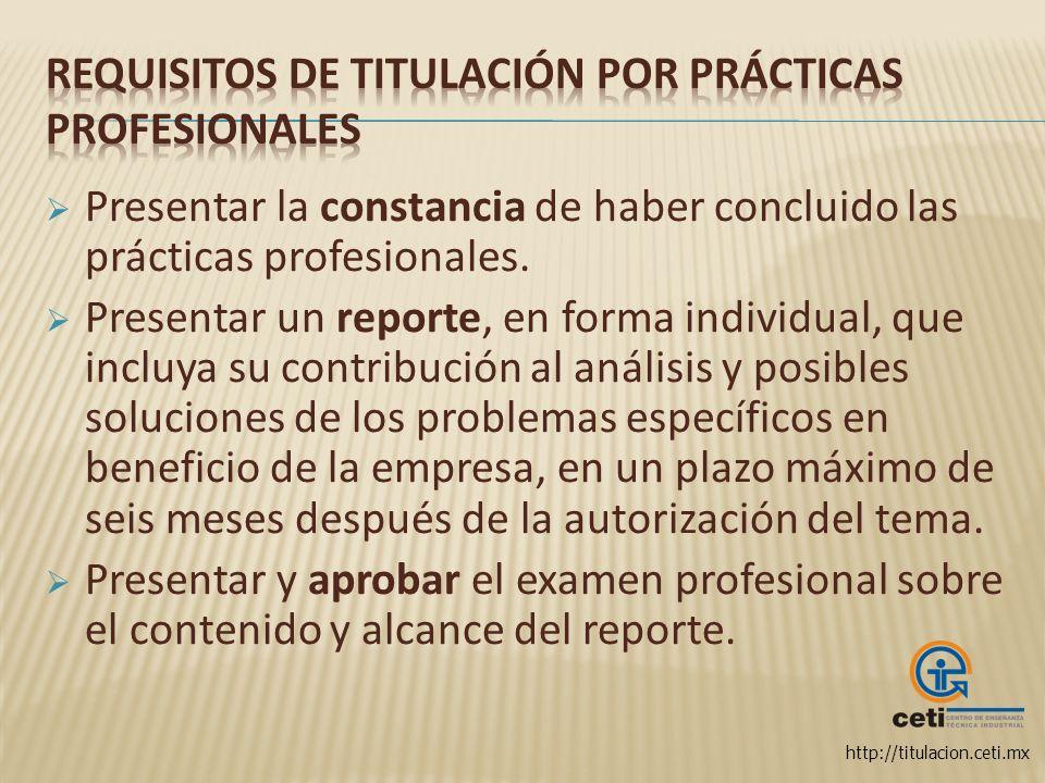Requisitos de titulación por Prácticas Profesionales