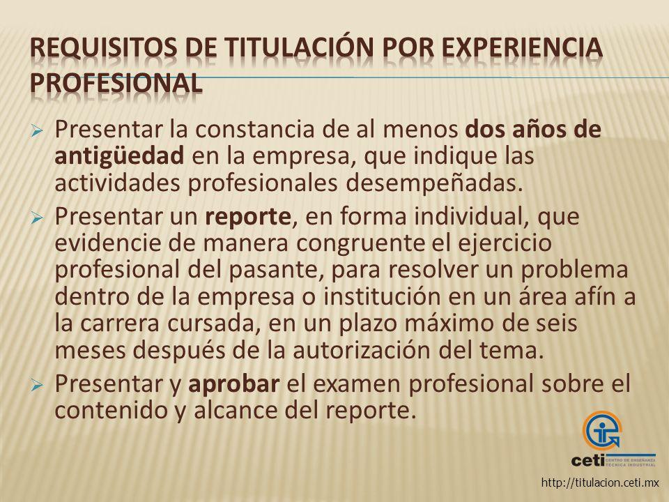 Requisitos de titulación por Experiencia Profesional