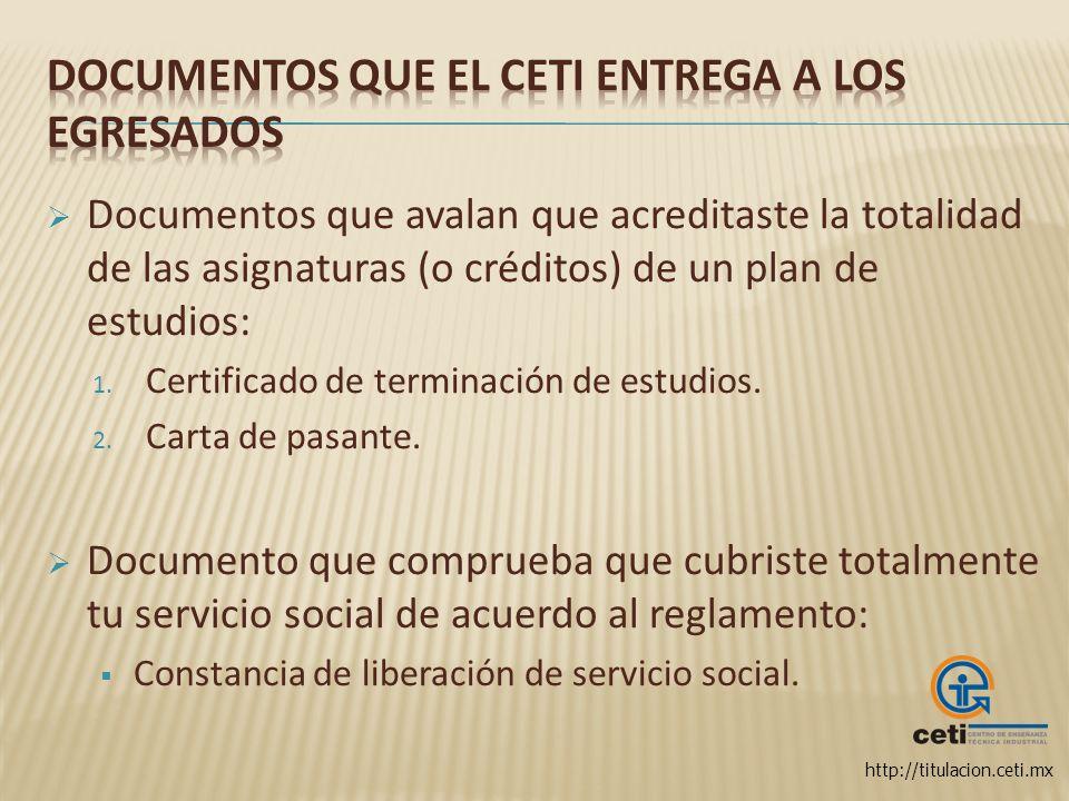 Documentos que el CETI entrega a los egresados