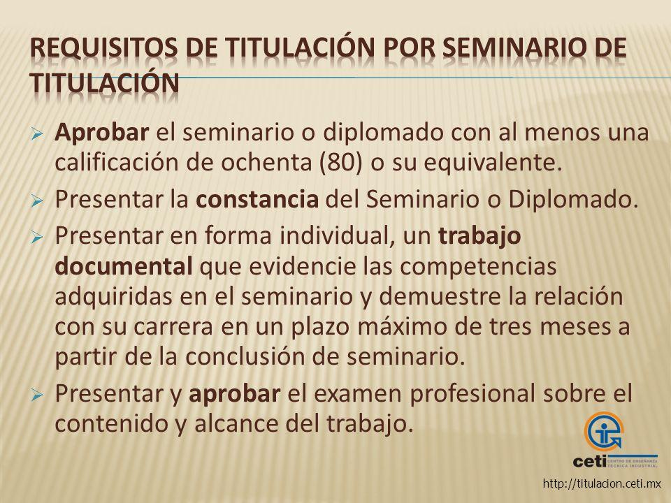 Requisitos de titulación por Seminario de Titulación