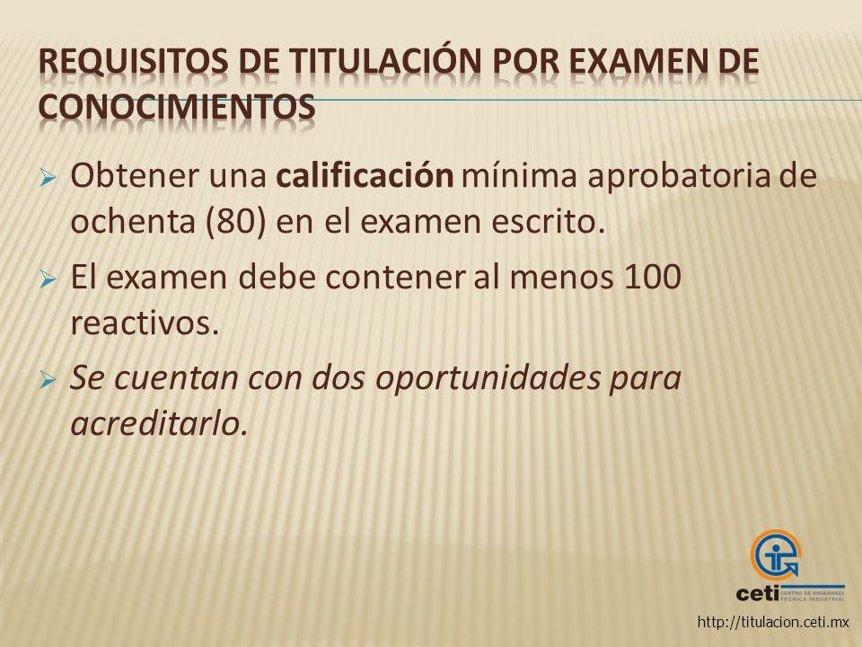 Requisitos de titulación por Examen de Conocimientos