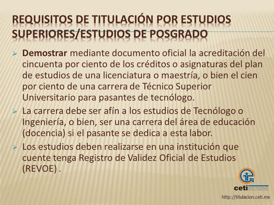 Requisitos de titulación por Estudios Superiores/Estudios de posgrado