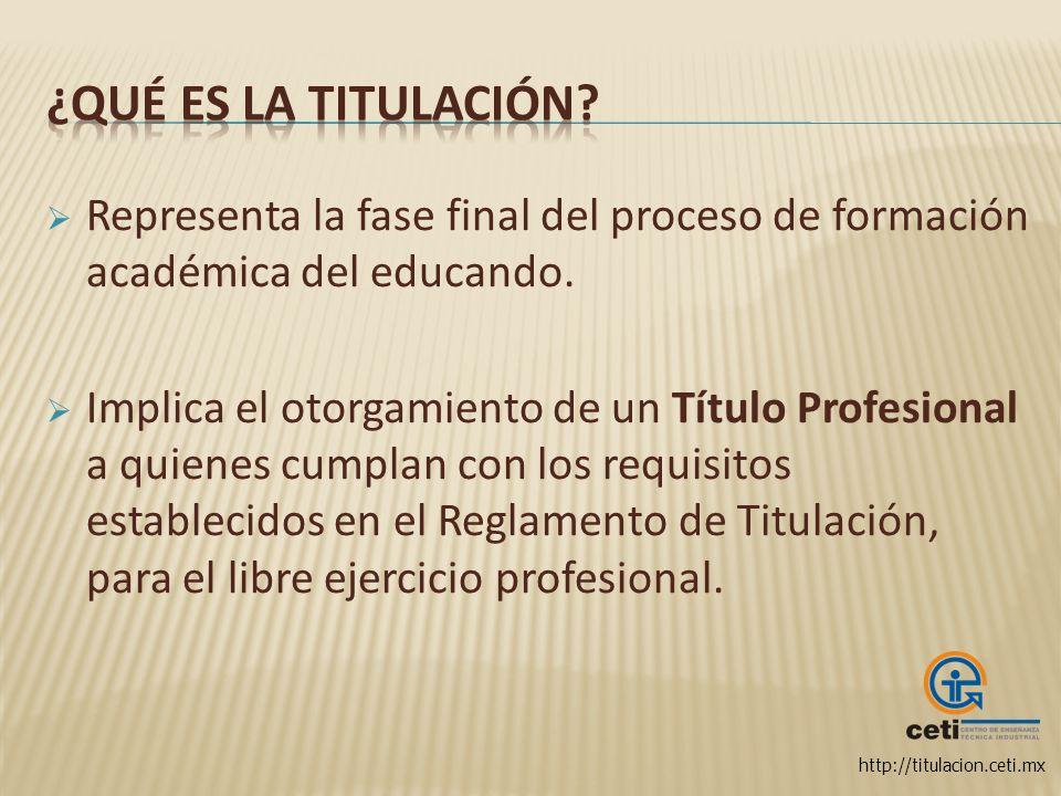 ¿Qué es la Titulación Representa la fase final del proceso de formación académica del educando.