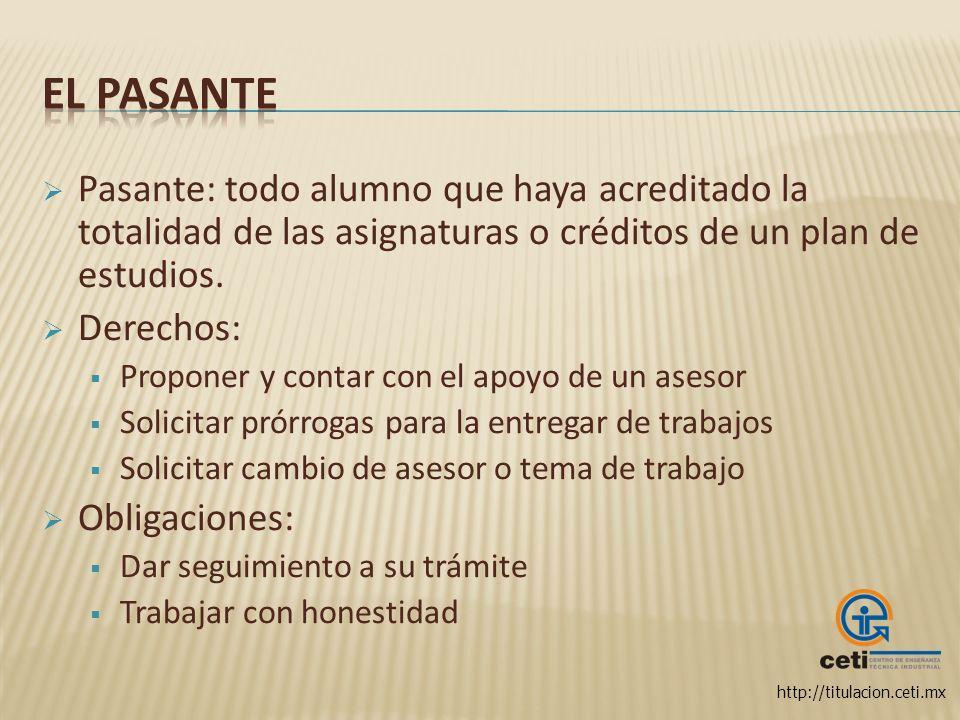 El pasante Pasante: todo alumno que haya acreditado la totalidad de las asignaturas o créditos de un plan de estudios.