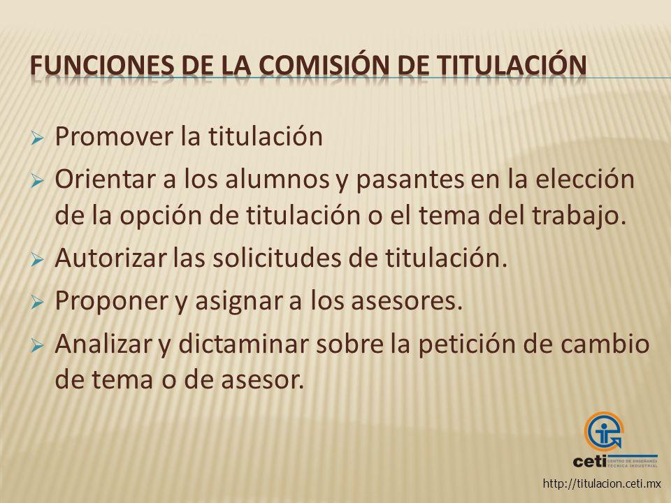 Funciones de la Comisión de Titulación