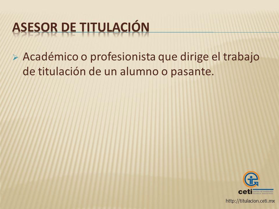 Asesor de Titulación Académico o profesionista que dirige el trabajo de titulación de un alumno o pasante.