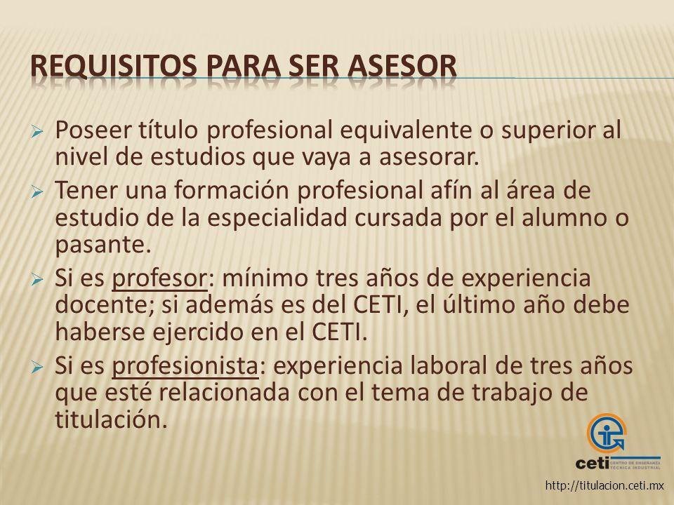 Requisitos para ser asesor