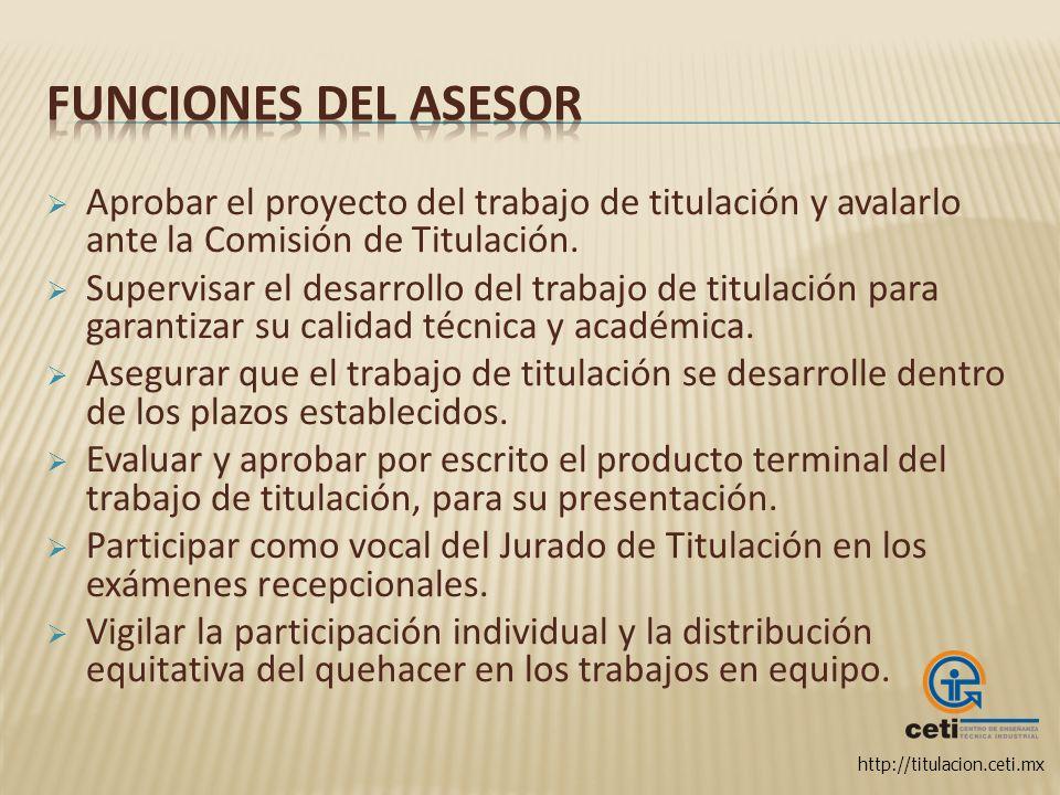 Funciones del asesor Aprobar el proyecto del trabajo de titulación y avalarlo ante la Comisión de Titulación.