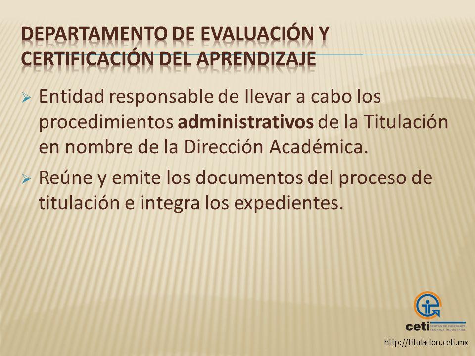 Departamento de Evaluación y Certificación del Aprendizaje