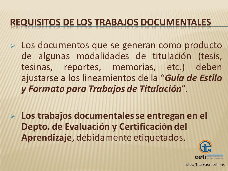 Requisitos de los trabajos documentales