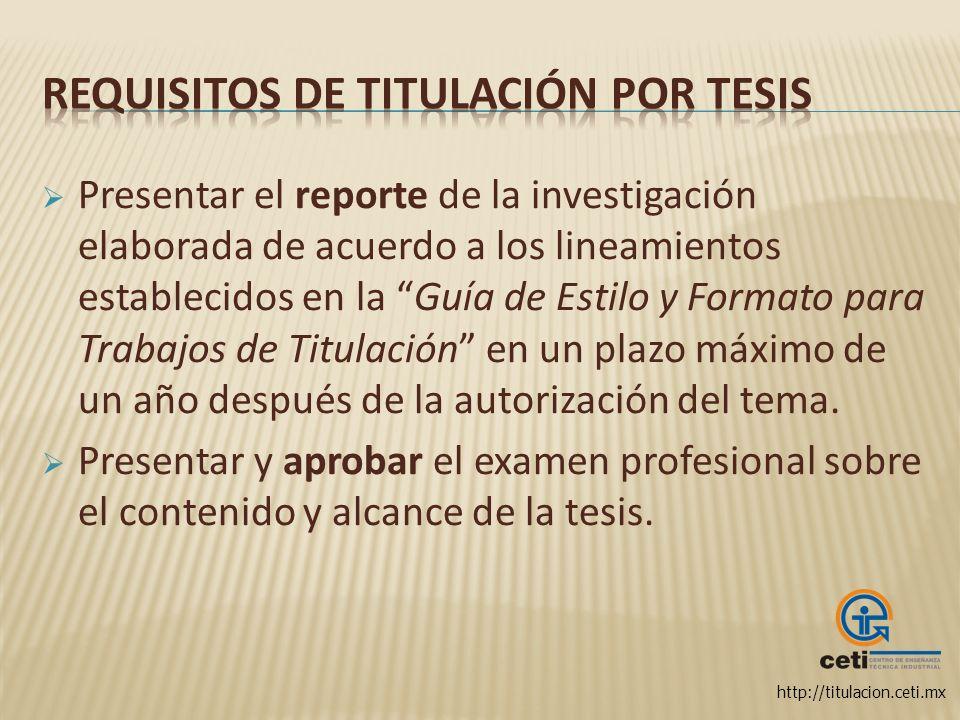Requisitos de Titulación por Tesis