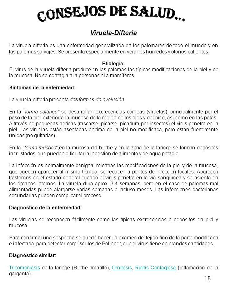 CONSEJOS DE SALUD... Viruela-Difteria