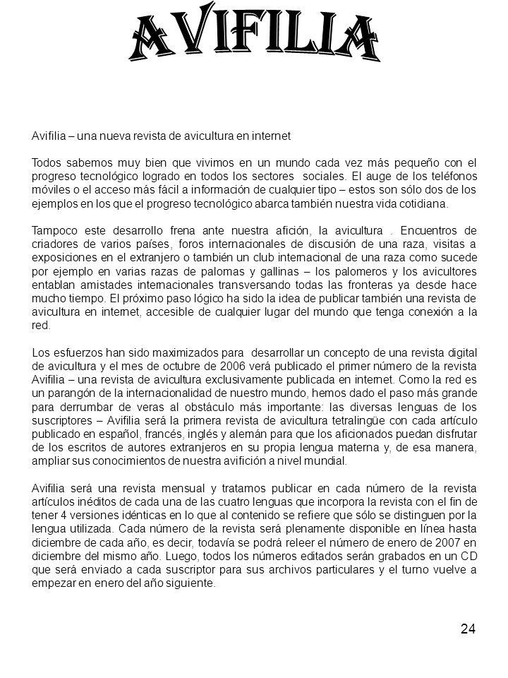 AVIFILIA Avifilia – una nueva revista de avicultura en internet