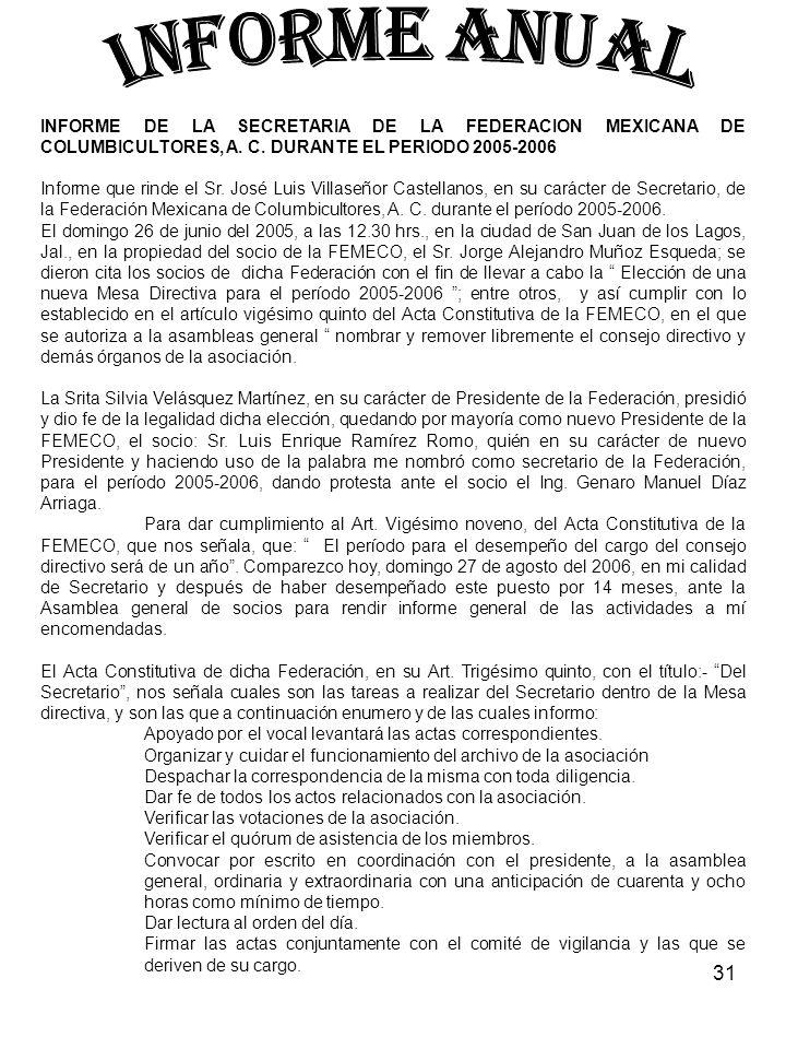 INFORME ANUAL INFORME DE LA SECRETARIA DE LA FEDERACION MEXICANA DE COLUMBICULTORES, A. C. DURANTE EL PERIODO 2005-2006.