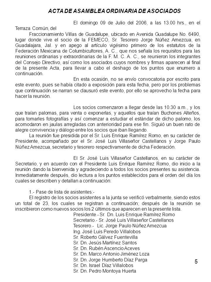 ACTA DE ASAMBLEA ORDINARIA DE ASOCIADOS