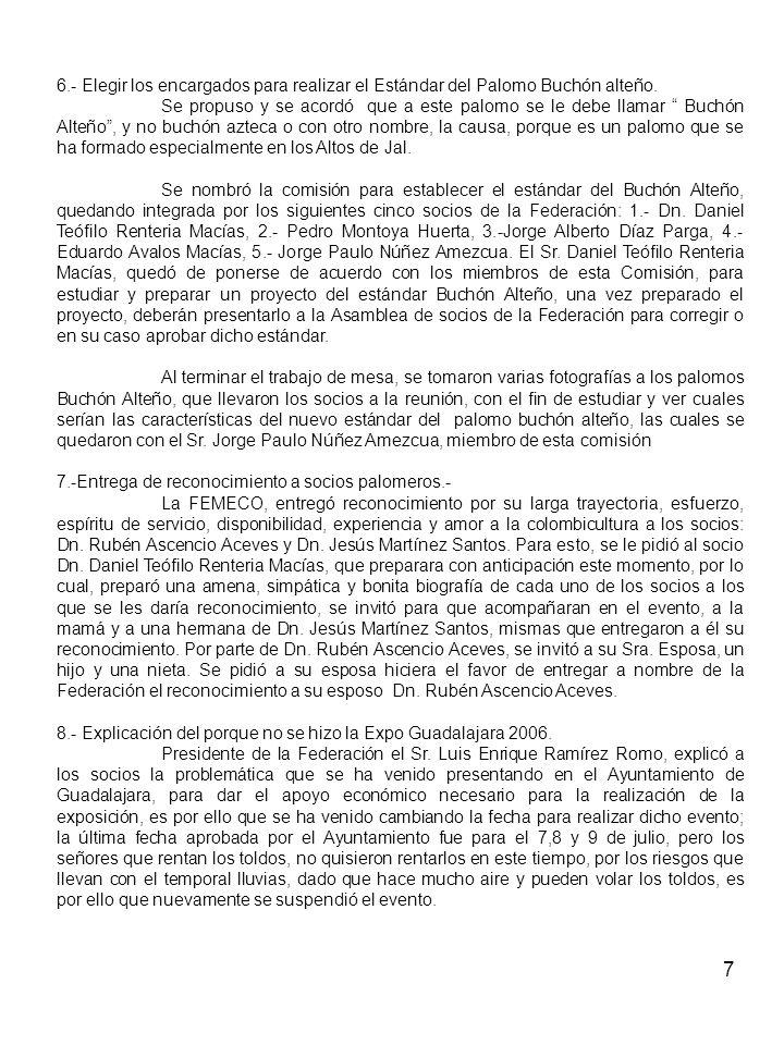 6.- Elegir los encargados para realizar el Estándar del Palomo Buchón alteño.