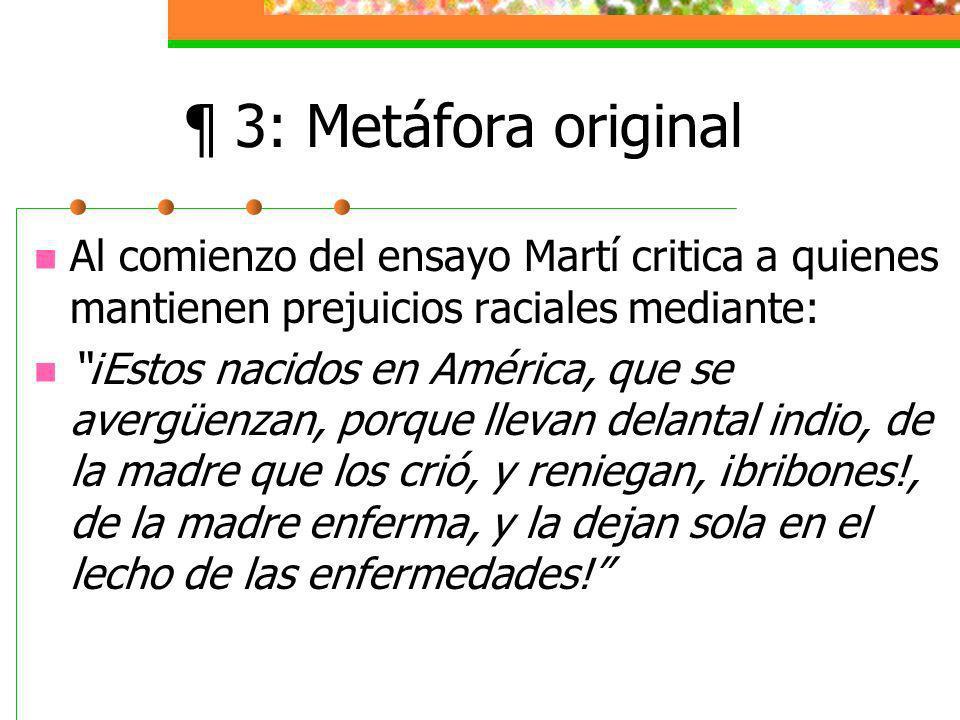 ¶ 3: Metáfora original Al comienzo del ensayo Martí critica a quienes mantienen prejuicios raciales mediante: