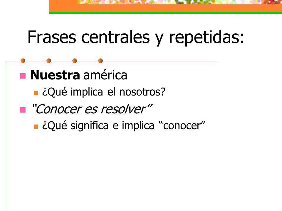 Frases centrales y repetidas:
