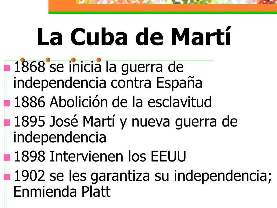 La Cuba de Martí 1868 se inicia la guerra de independencia contra España. 1886 Abolición de la esclavitud.