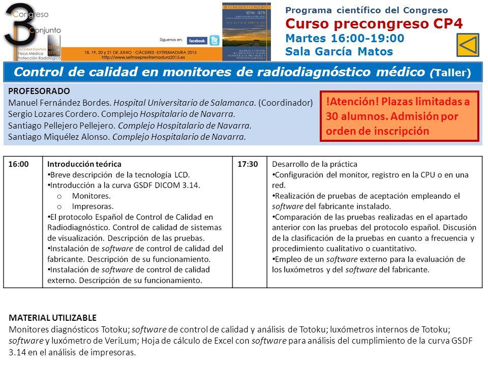 Control de calidad en monitores de radiodiagnóstico médico (Taller)