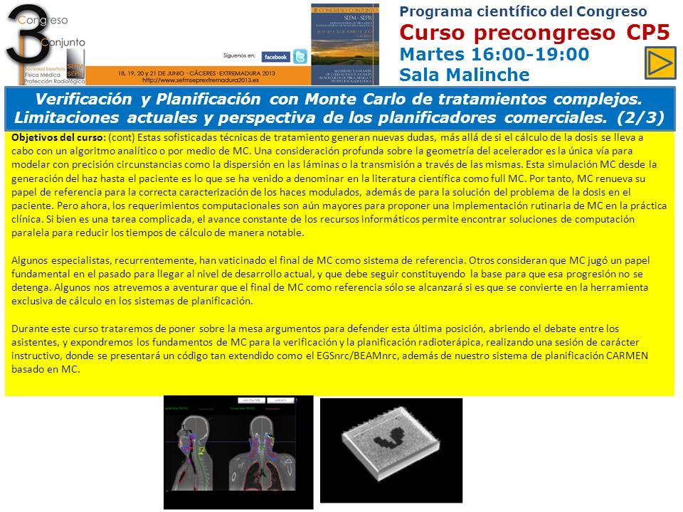 Programa científico del Congreso Curso precongreso CP5 Martes 16:00-19:00 Sala Malinche