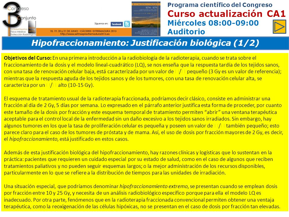Hipofraccionamiento: Justificación biológica (1/2)