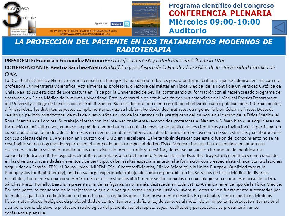 Programa científico del Congreso CONFERENCIA PLENARIA Miércoles 09:00-10:00 Auditorio