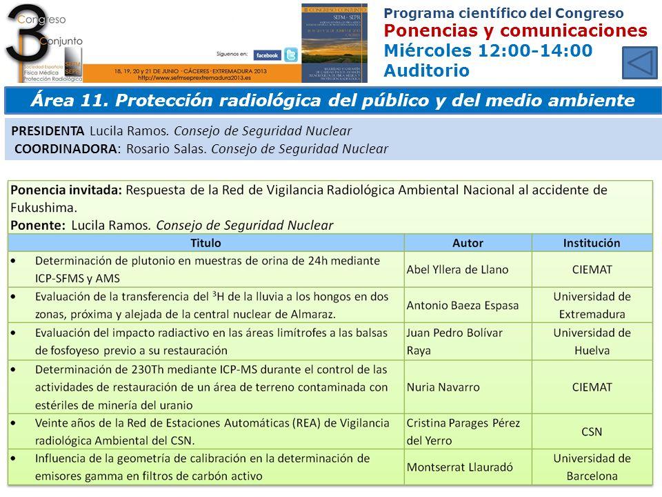 Área 11. Protección radiológica del público y del medio ambiente
