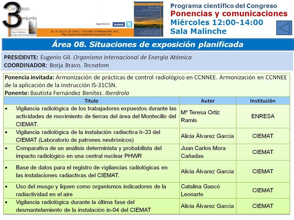 Área 08. Situaciones de exposición planificada