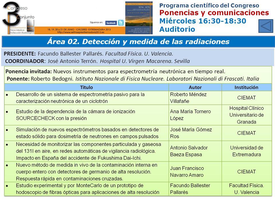 Área 02. Detección y medida de las radiaciones