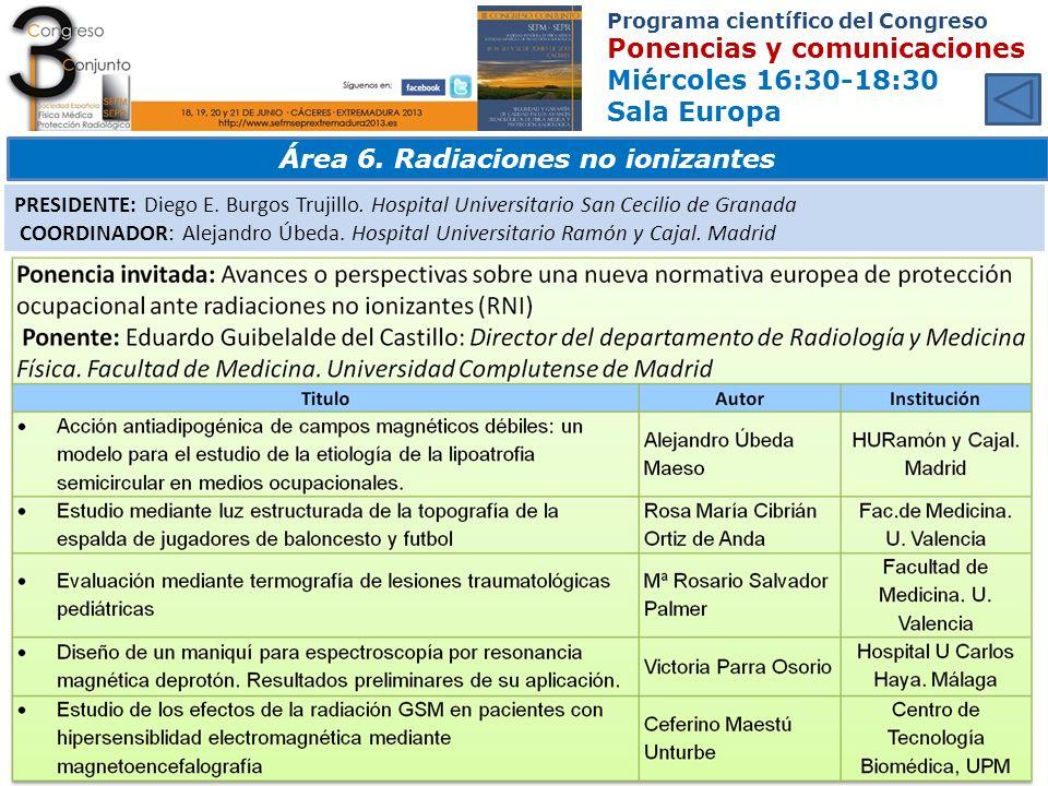 Área 6. Radiaciones no ionizantes