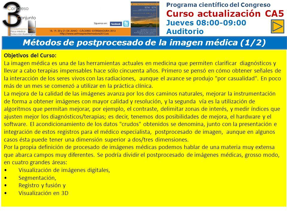 Métodos de postprocesado de la imagen médica (1/2)