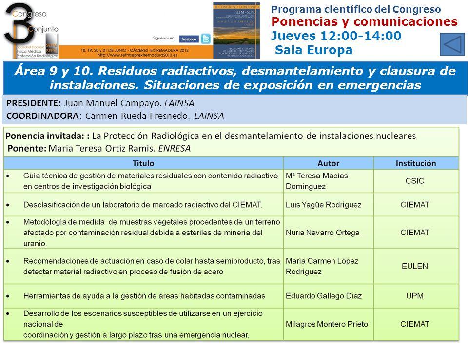 Programa científico del Congreso Ponencias y comunicaciones Jueves 12:00-14:00 Sala Europa