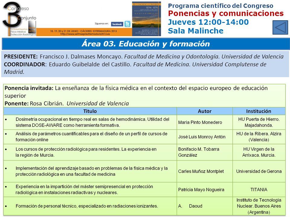 Área 03. Educación y formación