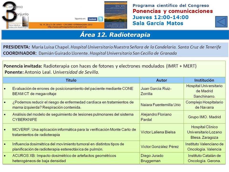 Programa científico del Congreso Ponencias y comunicaciones Jueves 12:00-14:00 Sala García Matos