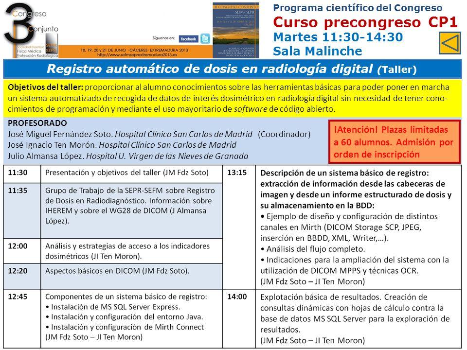 Registro automático de dosis en radiología digital (Taller)