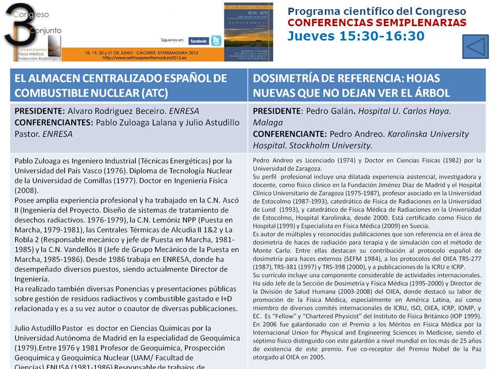 Programa científico del Congreso CONFERENCIAS SEMIPLENARIAS Jueves 15:30-16:30
