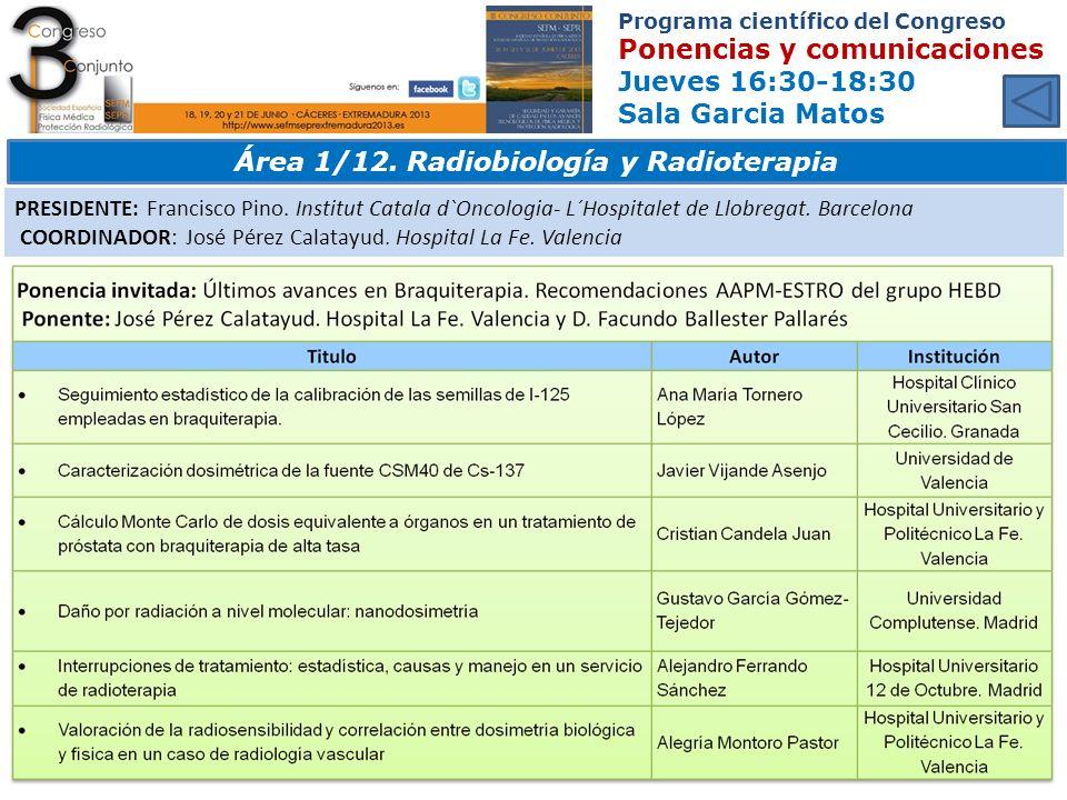 Área 1/12. Radiobiología y Radioterapia