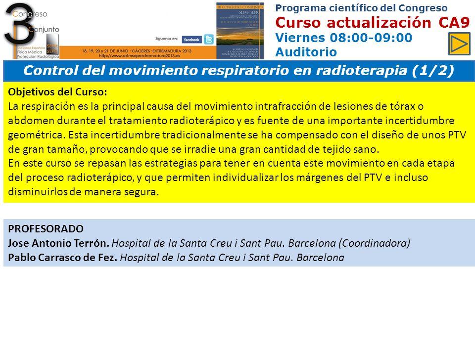 Control del movimiento respiratorio en radioterapia (1/2)