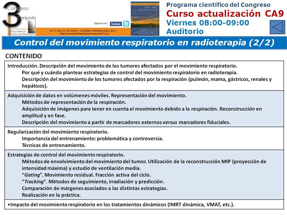 Control del movimiento respiratorio en radioterapia (2/2)