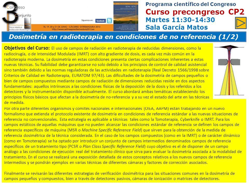 Dosimetría en radioterapia en condiciones de no referencia (1/2)
