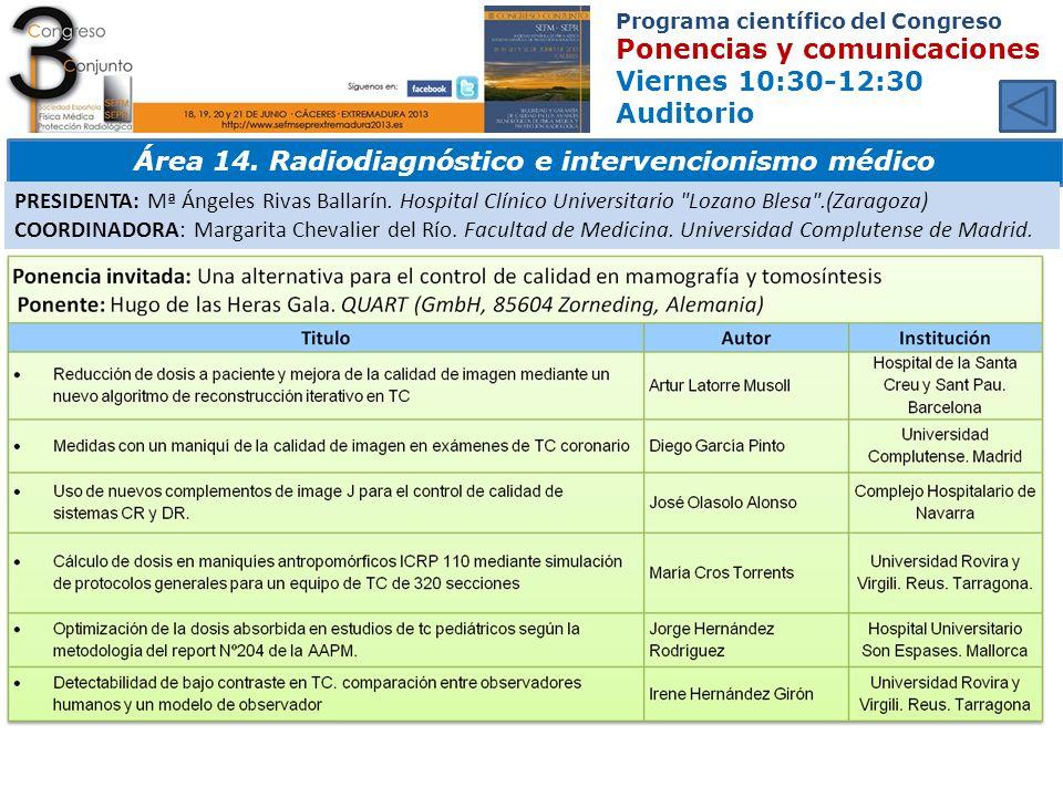 Área 14. Radiodiagnóstico e intervencionismo médico