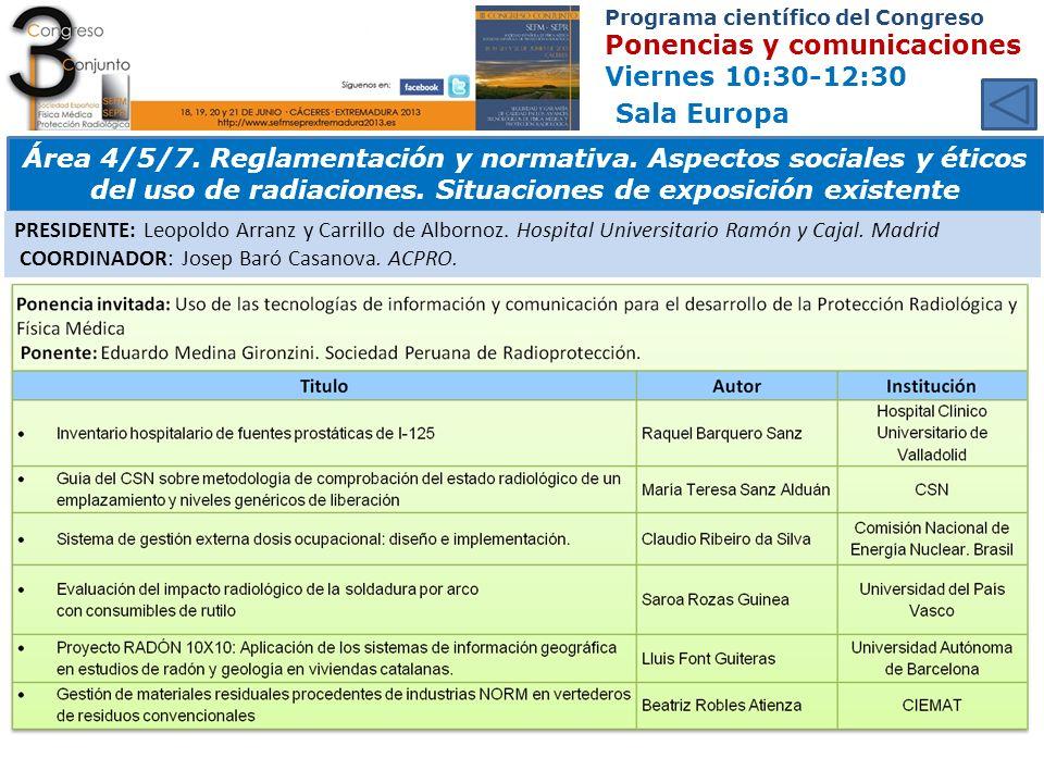 Programa científico del Congreso Ponencias y comunicaciones Viernes 10:30-12:30 Sala Europa