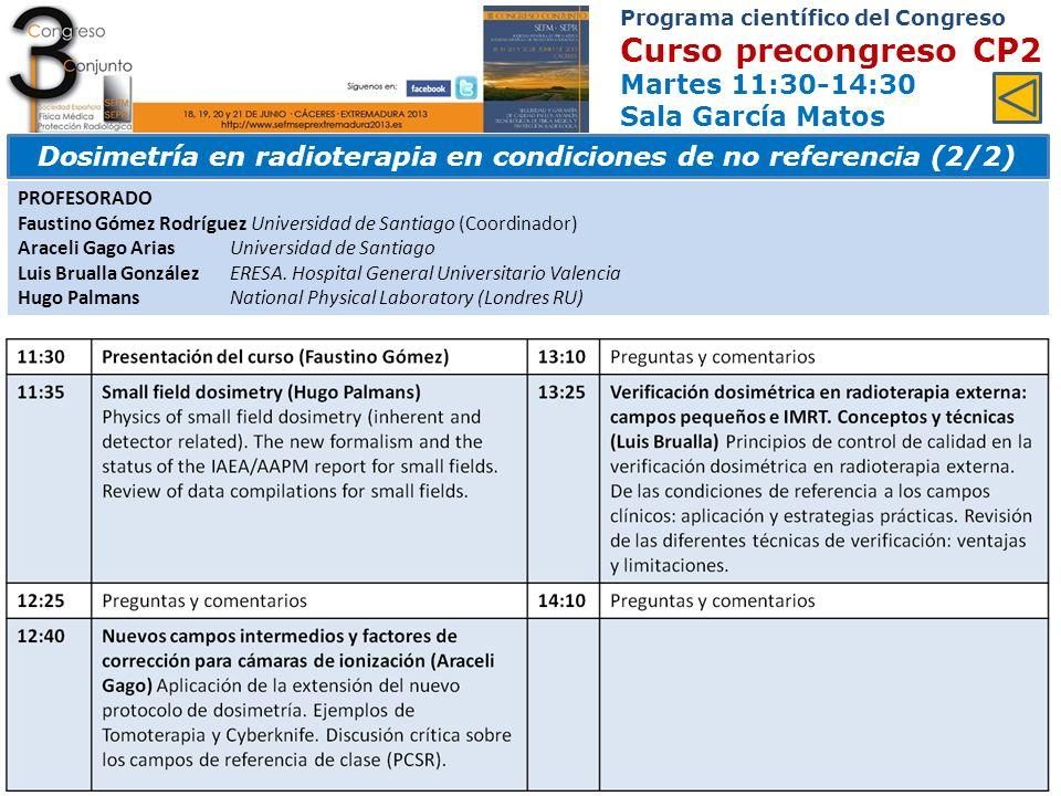 Dosimetría en radioterapia en condiciones de no referencia (2/2)