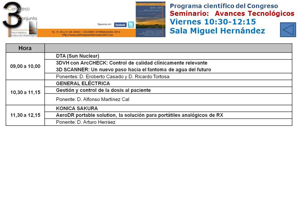Programa científico del Congreso Seminario: Avances Tecnológicos Viernes 10:30-12:15 Sala Miguel Hernández