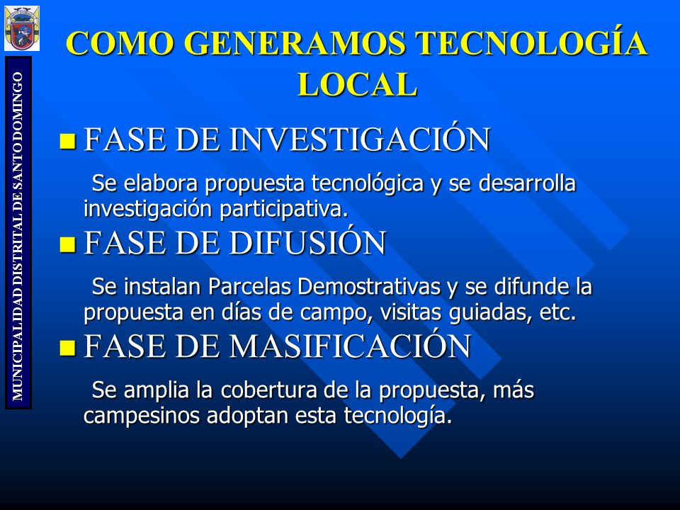 COMO GENERAMOS TECNOLOGÍA LOCAL