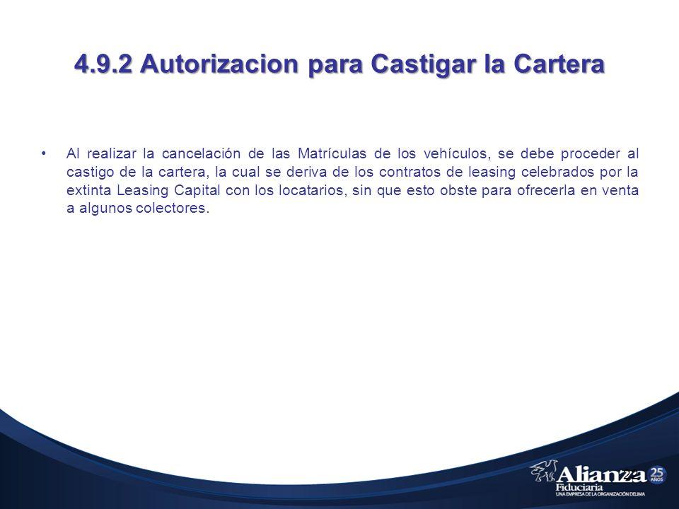 4.9.2 Autorizacion para Castigar la Cartera