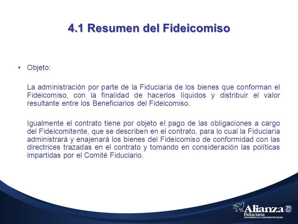 4.1 Resumen del Fideicomiso