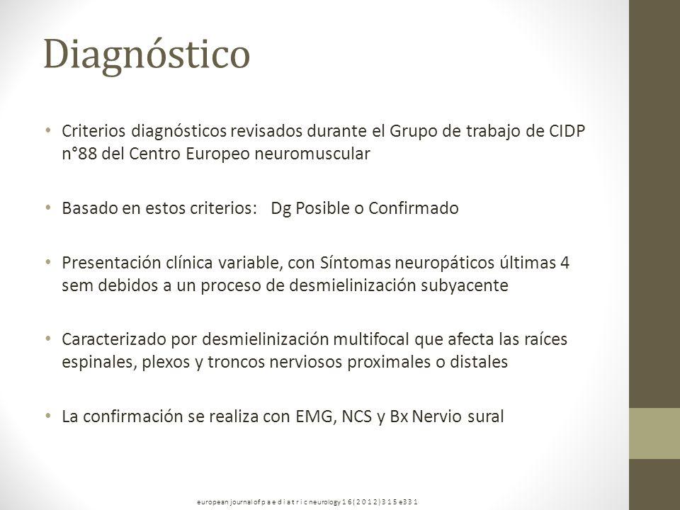 Diagnóstico Criterios diagnósticos revisados durante el Grupo de trabajo de CIDP n°88 del Centro Europeo neuromuscular.